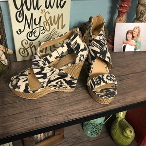 Ikat type pattern.  Wedge sandals